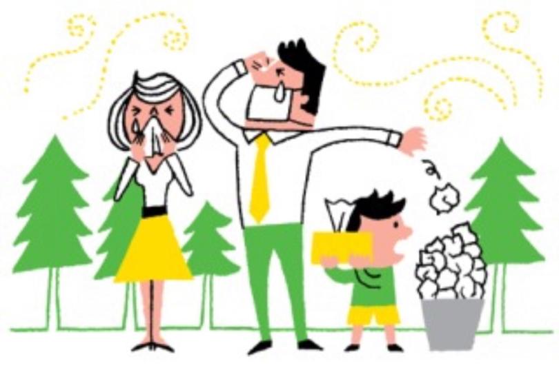 くしゃみをしている家族のイラスト