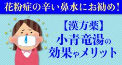 花粉症の辛い鼻水にお勧め!【漢方薬】小青竜湯の効果やメリット